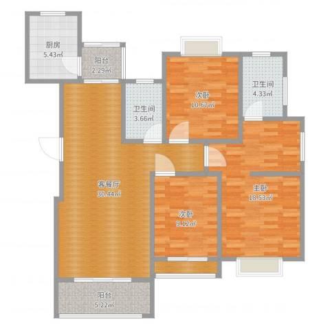 清华园6号楼1单元2023室2厅2卫1厨114.00㎡户型图