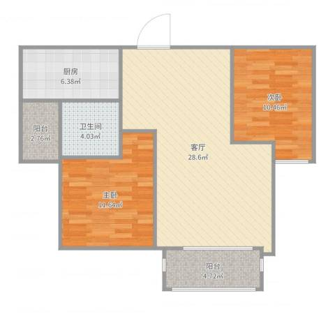 恒基雍景新城2室1厅1卫1厨86.00㎡户型图