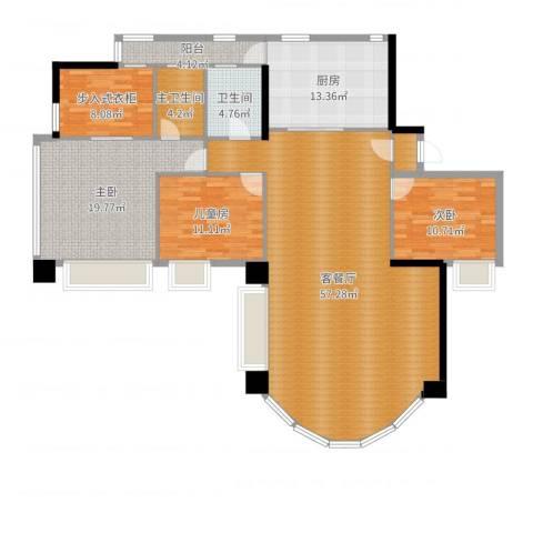 华景新城六期A户型3室3厅2卫1厨168.00㎡户型图
