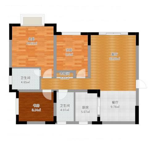 天骄年华3室1厅2卫1厨114.00㎡户型图