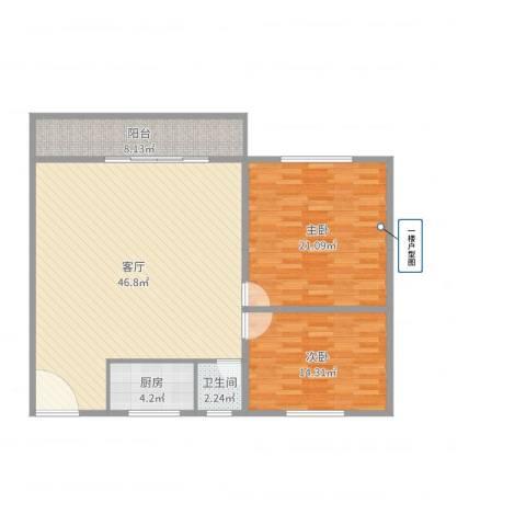 白鹭花园公寓2室1厅1卫1厨121.00㎡户型图
