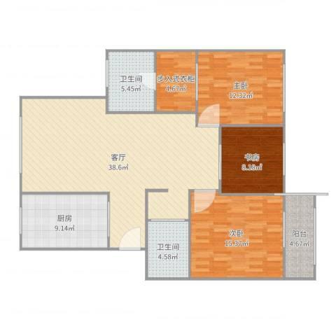 梅江北苑3室1厅2卫1厨129.00㎡户型图