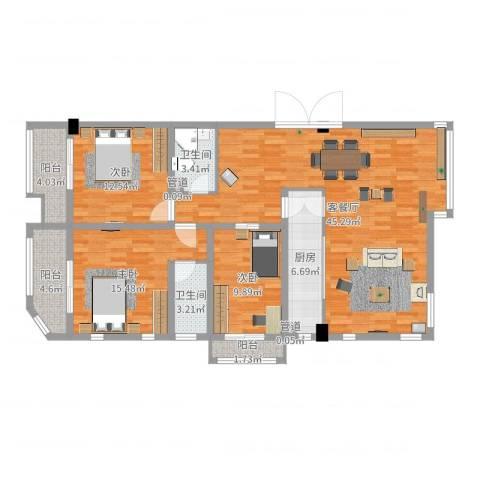 红星8号3室2厅2卫1厨134.00㎡户型图