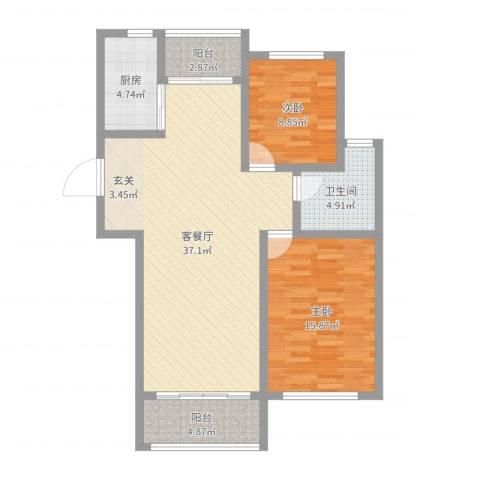 逸境华府2室2厅1卫1厨99.00㎡户型图