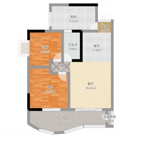 升伟新天地2室2厅1卫1厨106.00㎡户型图