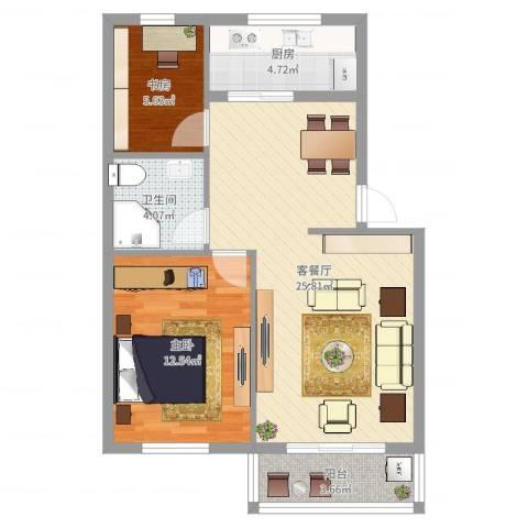 胜丰小区2室2厅1卫1厨71.00㎡户型图