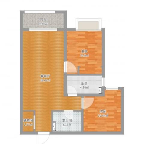 谈固国瑞城2室2厅1卫1厨80.00㎡户型图