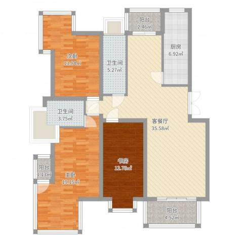 华厦清水湾3室2厅2卫1厨132.00㎡户型图