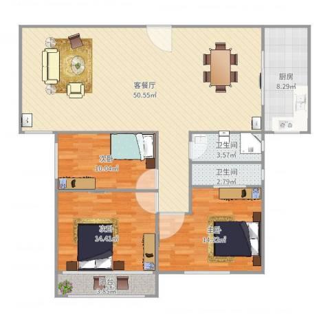 新家坡园景苑3室2厅2卫1厨135.00㎡户型图
