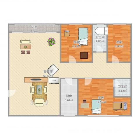 新家坡园景苑3室2厅2卫1厨146.00㎡户型图