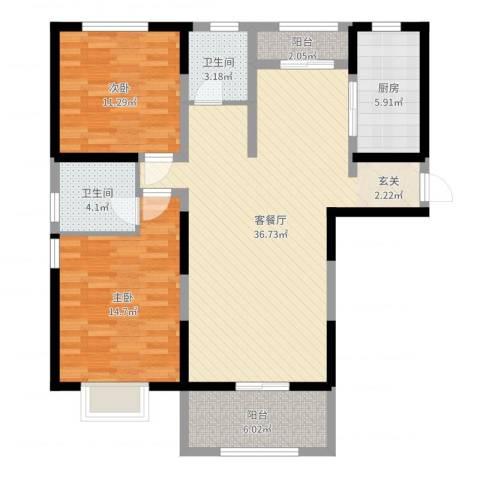 华府天地2室2厅2卫1厨105.00㎡户型图