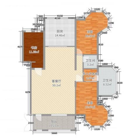 小平岛泊岸观邸3室2厅2卫1厨180.00㎡户型图