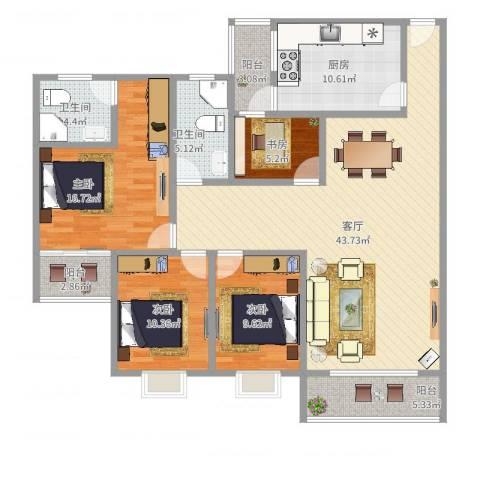 康裕北苑西区4室1厅2卫1厨146.00㎡户型图