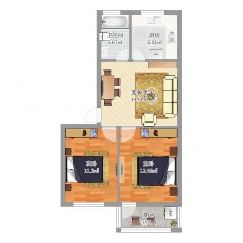 甬兴新村2室2厅1卫1厨64.00㎡户型图