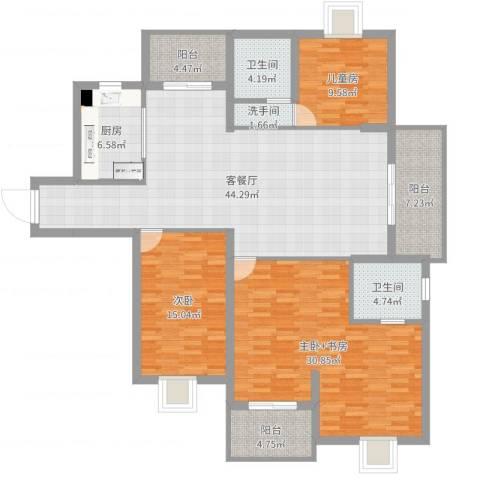 黄山豪庭2室2厅2卫1厨167.00㎡户型图