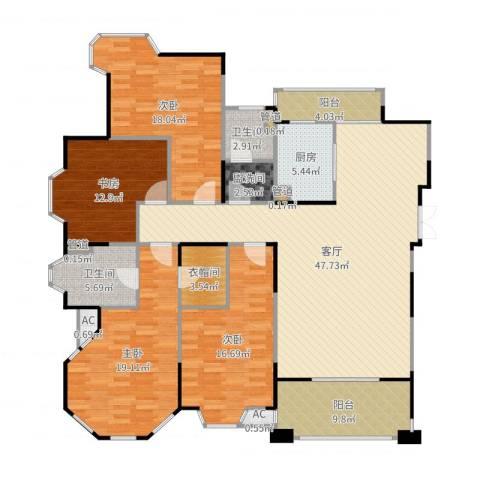 世嘉国际华城二期4室1厅2卫1厨188.00㎡户型图