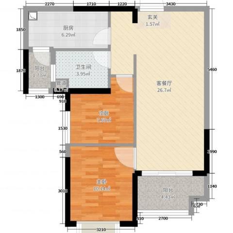 恒大翡翠华庭2室2厅1卫1厨76.00㎡户型图