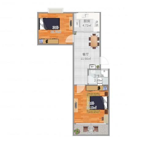 达明新村2室1厅1卫1厨58.00㎡户型图