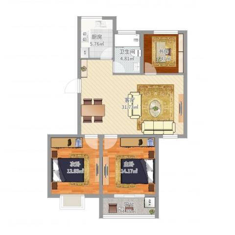 惊驾名庭3室1厅1卫1厨102.00㎡户型图