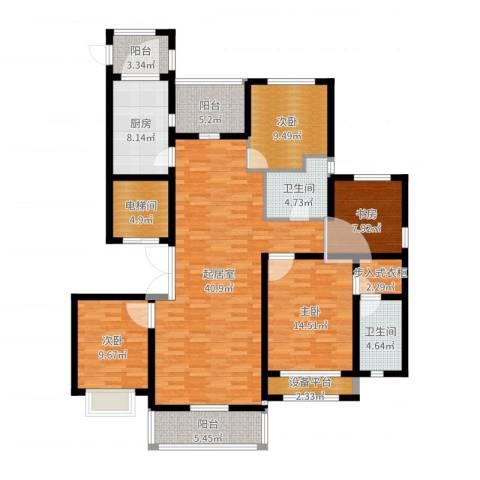 中房颐园4室1厅3卫1厨154.00㎡户型图
