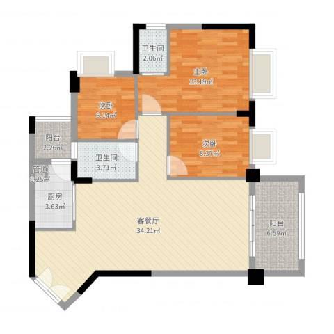 四洲城市经典3室2厅2卫1厨101.00㎡户型图