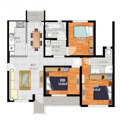 太湖水云天3室3厅2卫1厨133.00㎡户型图