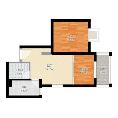 金牛坊2室1厅1卫1厨60.00㎡户型图