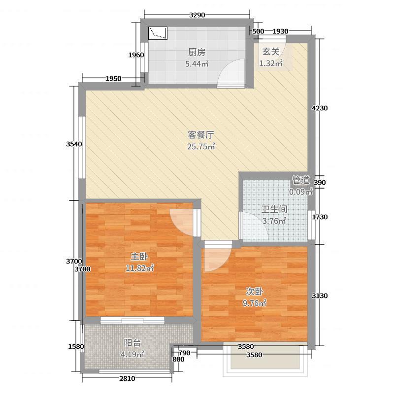 锦艺四季城76.00㎡二期高层A2户型2室2厅1卫1厨