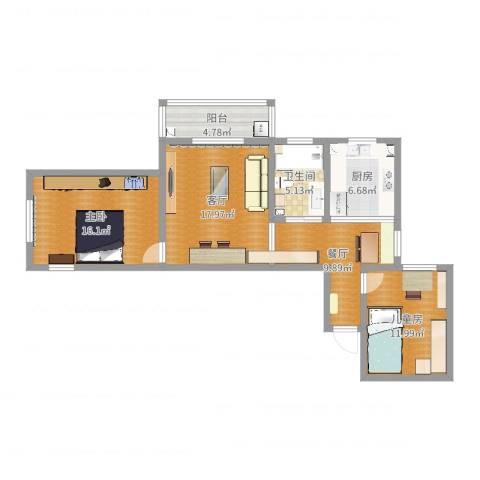 大众汽车公寓2室2厅1卫1厨72.54㎡户型图