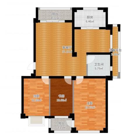 盛德山水绿城3室2厅2卫1厨127.00㎡户型图