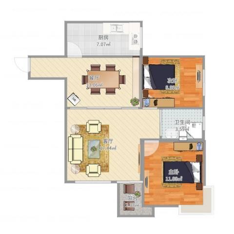 百花公寓3-27012室2厅1卫1厨79.00㎡户型图
