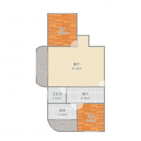 白玉兰家园2室2厅1卫1厨106.00㎡户型图