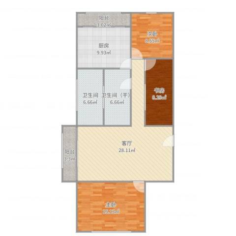 白玉兰家园3室1厅1卫1厨112.00㎡户型图