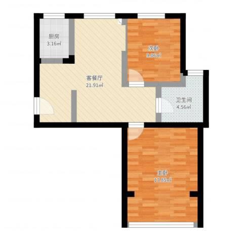 白玉兰家园2室2厅1卫1厨71.00㎡户型图