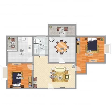 白玉兰家园2室2厅1卫1厨98.00㎡户型图