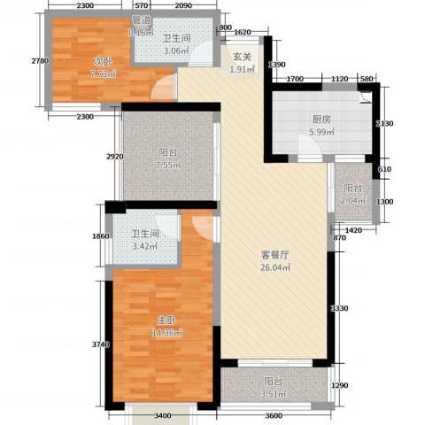 利丰中央公园2室2厅2卫1厨97.00㎡户型图