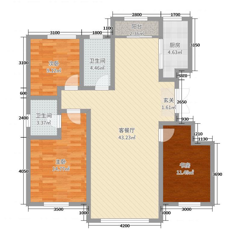 希望悦圣湾126.00㎡户型3室3厅2卫1厨