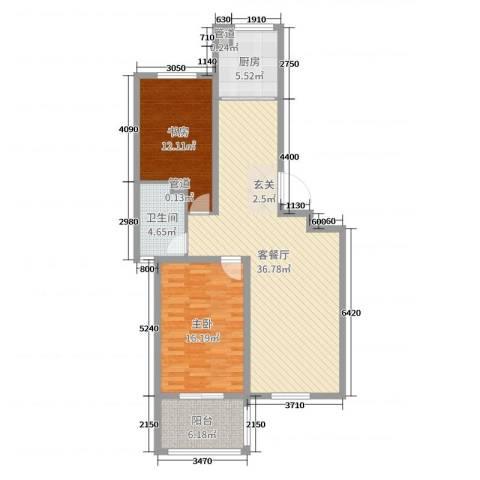 名仕花园2室2厅1卫1厨102.00㎡户型图