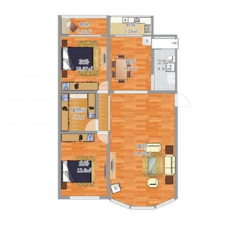 闻新园3室2厅1卫1厨102.00㎡户型图