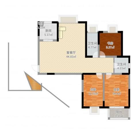 翡翠湾花园3室2厅2卫1厨125.00㎡户型图
