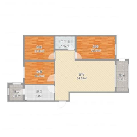 松浦观江国际3室1厅1卫1厨111.00㎡户型图