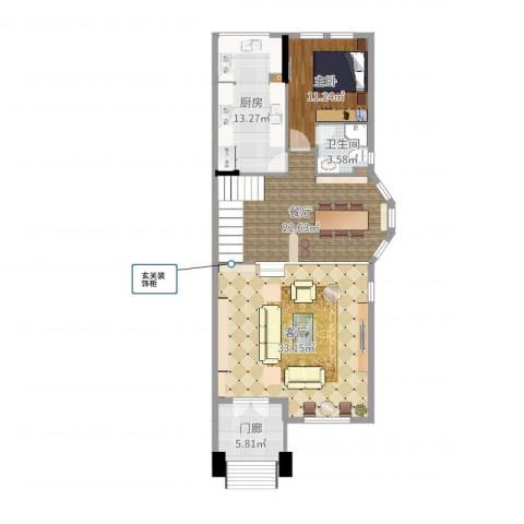 誉景名居1室2厅1卫1厨112.00㎡户型图