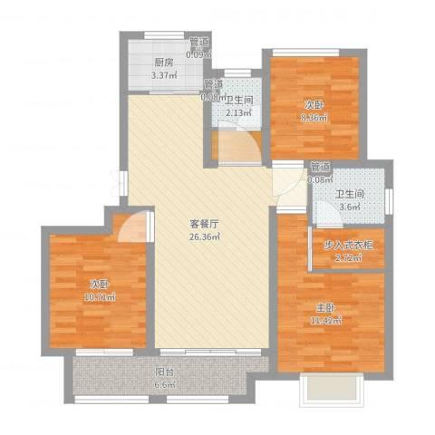 农房檀府3室2厅2卫1厨96.00㎡户型图