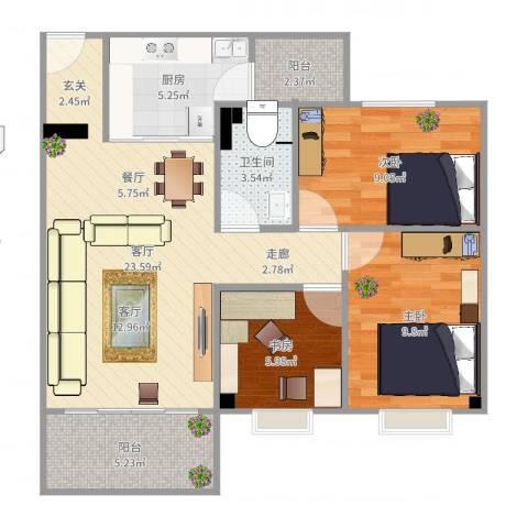 东华花园3室1厅1卫1厨81.00㎡户型图