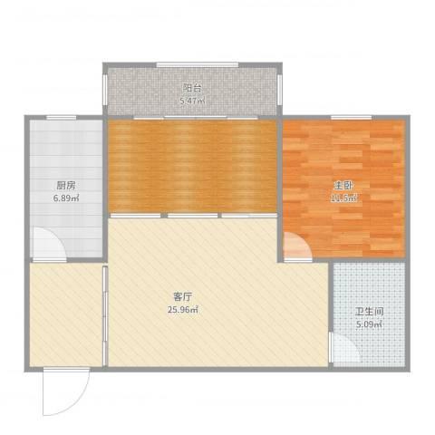 清联花园1室1厅1卫1厨82.00㎡户型图
