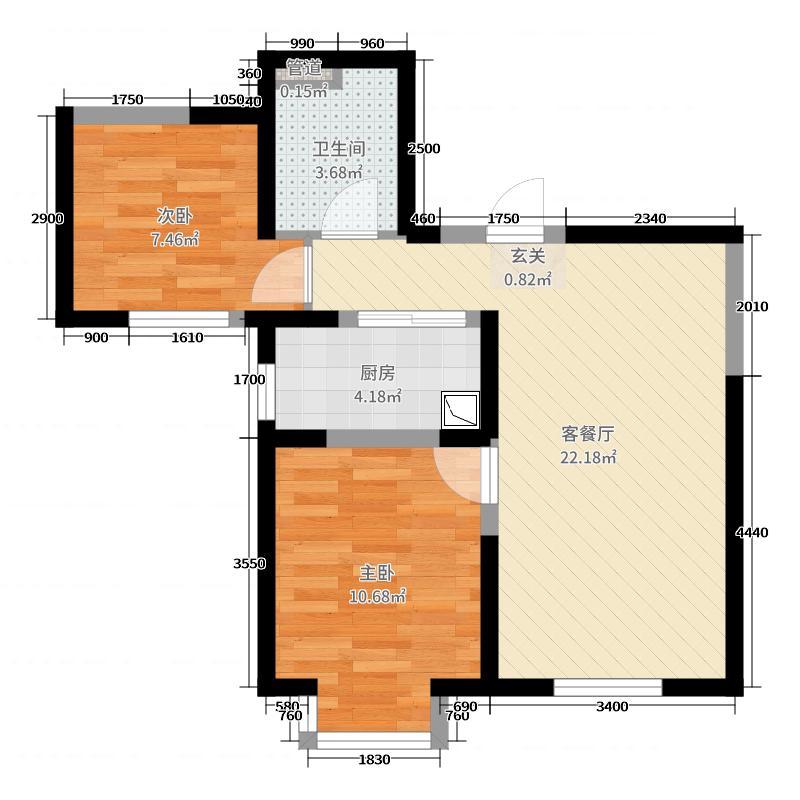 唐山恒大华府77.16㎡8#楼2单元标准层B户型2室2厅1卫1厨