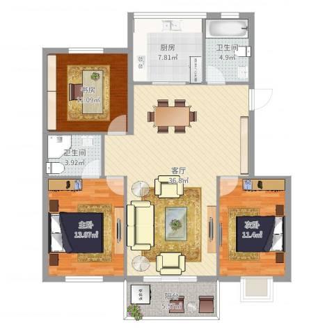 惊驾名庭3室1厅2卫1厨118.00㎡户型图