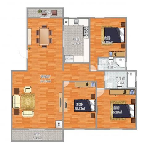 益兴名人湾3室2厅2卫1厨160.00㎡户型图
