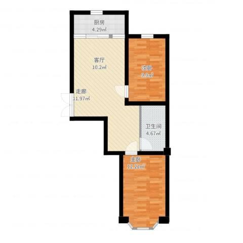 枫桥河畔2室2厅1卫1厨77.00㎡户型图