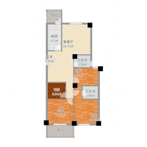 芝兰新城4室2厅2卫1厨131.00㎡户型图
